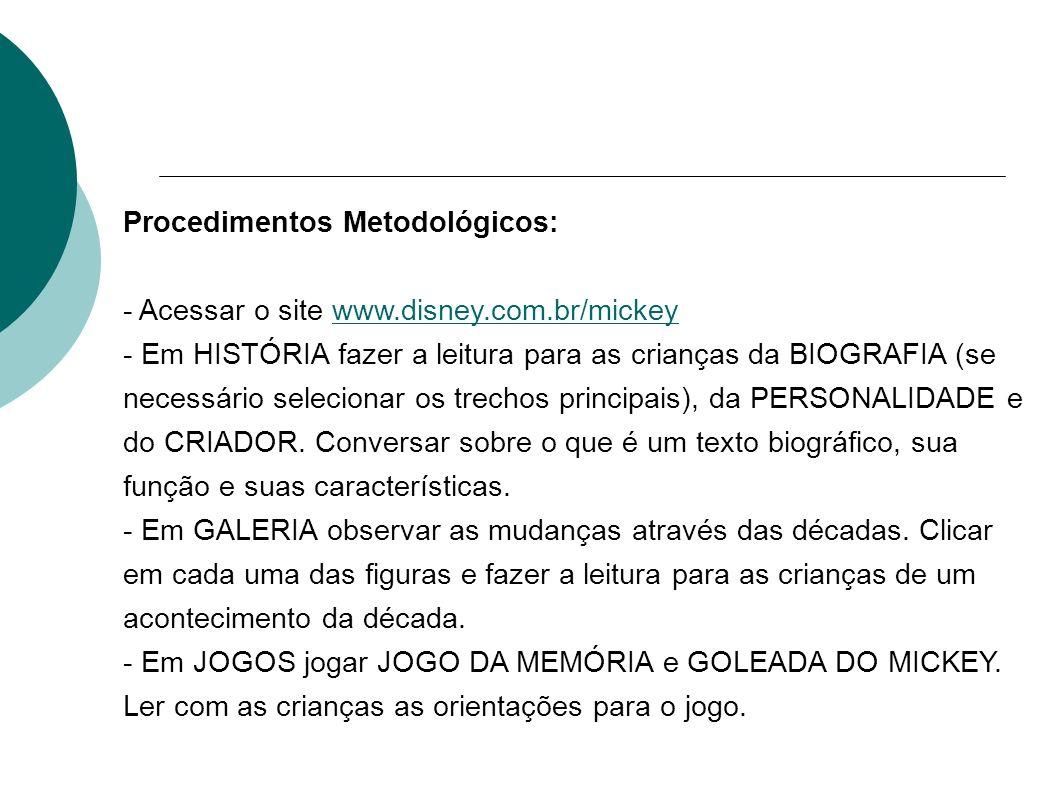 Procedimentos Metodológicos: - Acessar o site www.disney.com.br/mickeywww.disney.com.br/mickey - Em HISTÓRIA fazer a leitura para as crianças da BIOGR