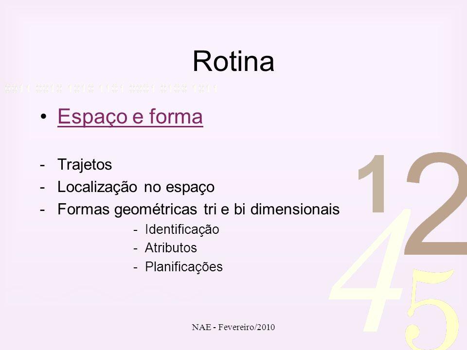 NAE - Fevereiro/2010 Rotina Espaço e forma -Trajetos -Localização no espaço -Formas geométricas tri e bi dimensionais -Identificação -Atributos -Plani