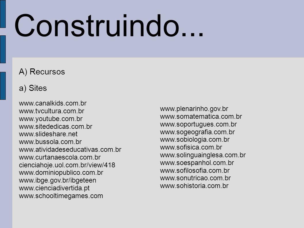 Construindo... A) Recursos a) Sites www.canalkids.com.br www.tvcultura.com.br www.youtube.com.br www.sitededicas.com.br www.slideshare.net www.bussola