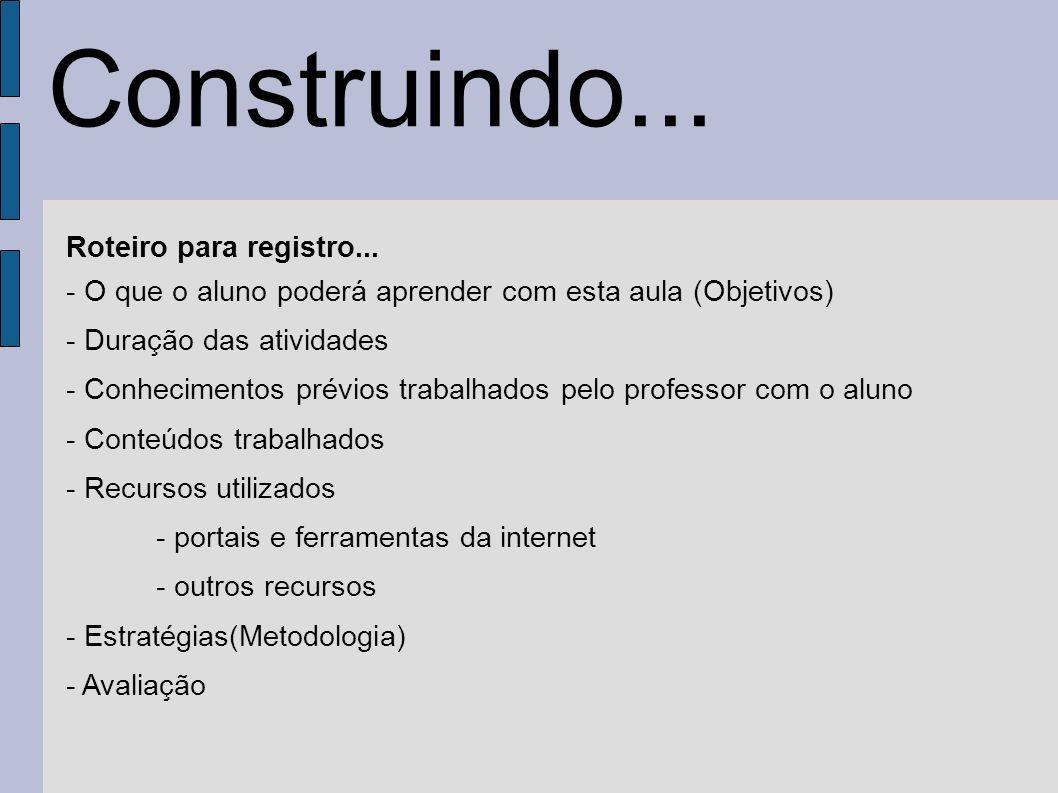 Roteiro para registro... - O que o aluno poderá aprender com esta aula (Objetivos) - Duração das atividades - Conhecimentos prévios trabalhados pelo p