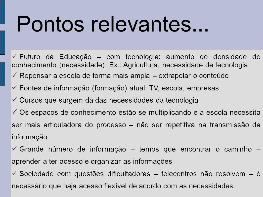 Futuro da Educação – com tecnologia: aumento de densidade de conhecimento (necessidade). Ex.: Agricultura, necessidade de tecnologia Repensar a escola