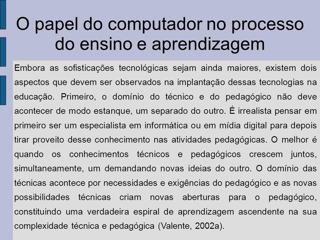 O papel do computador no processo do ensino e aprendizagem O segundo aspecto diz respeito à especificidade de cada tecnologia com relação às aplicações pedagógicas.