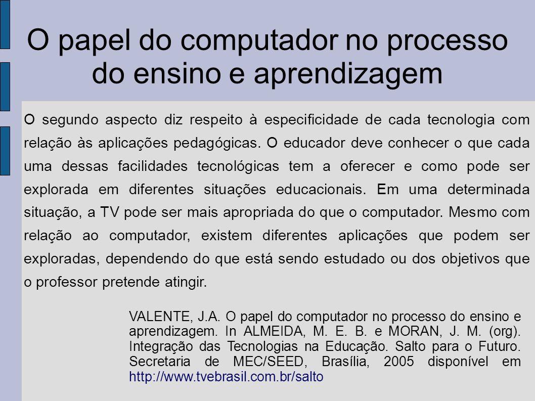 O papel do computador no processo do ensino e aprendizagem O segundo aspecto diz respeito à especificidade de cada tecnologia com relação às aplicaçõe