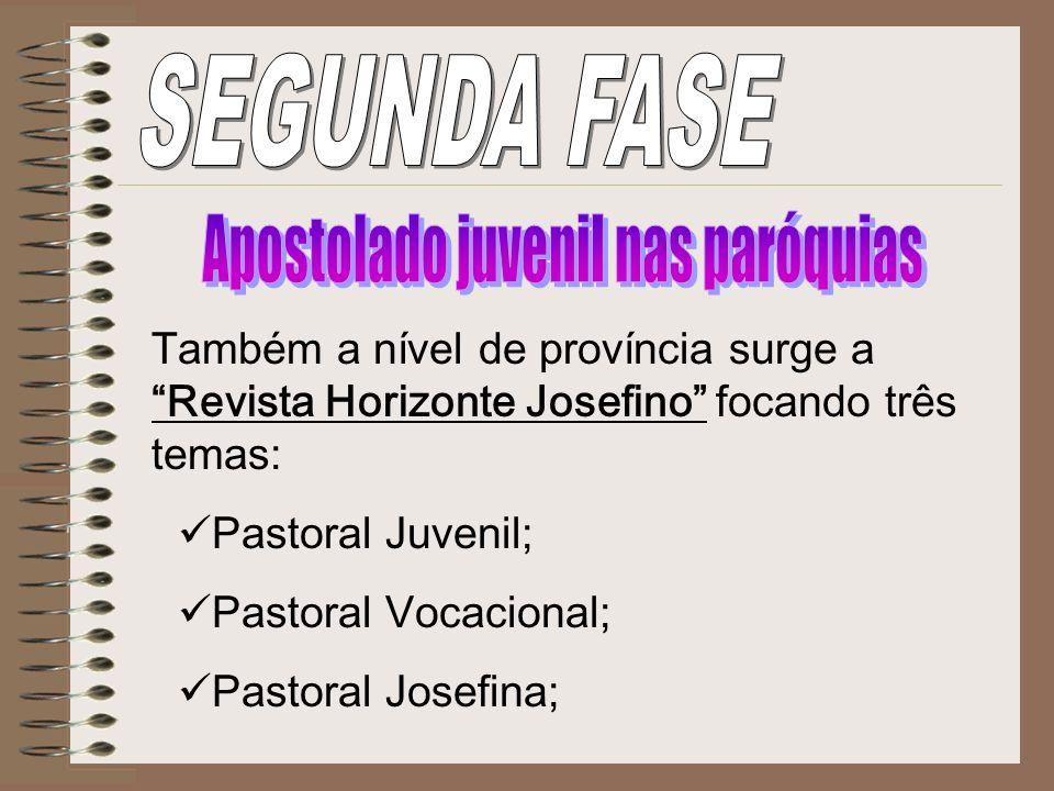 Também a nível de província surge a Revista Horizonte Josefino focando três temas: Pastoral Juvenil; Pastoral Vocacional; Pastoral Josefina;