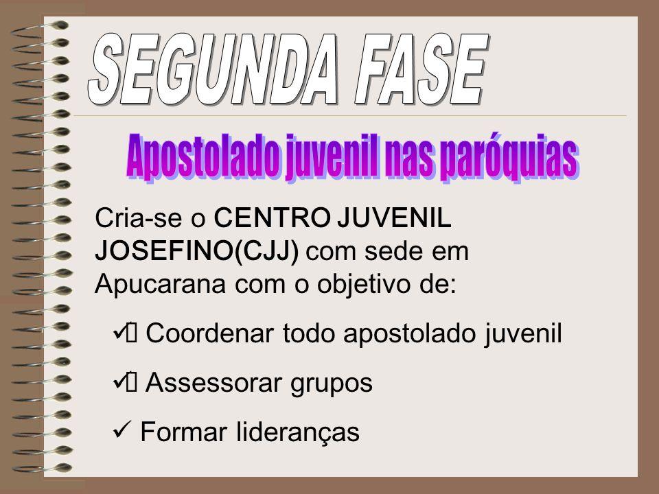 Cria-se o CENTRO JUVENIL JOSEFINO(CJJ) com sede em Apucarana com o objetivo de: Coordenar todo apostolado juvenil Assessorar grupos Formar lideranças