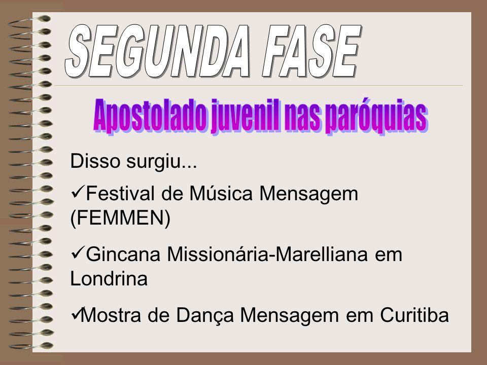Disso surgiu... Festival de Música Mensagem (FEMMEN) Gincana Missionária-Marelliana em Londrina Mostra de Dança Mensagem em Curitiba