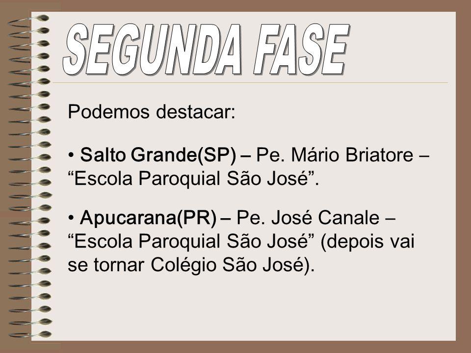 Podemos destacar: Salto Grande(SP) – Pe. Mário Briatore – Escola Paroquial São José. Apucarana(PR) – Pe. José Canale – Escola Paroquial São José (depo