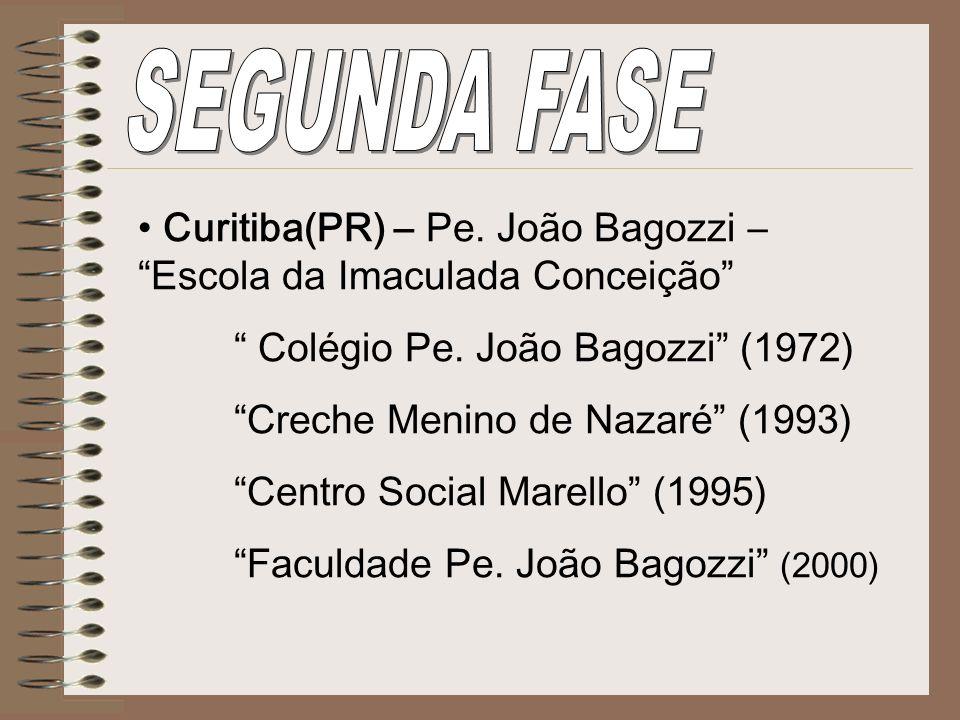 Curitiba(PR) – Pe. João Bagozzi – Escola da Imaculada Conceição Colégio Pe. João Bagozzi (1972) Creche Menino de Nazaré (1993) Centro Social Marello (