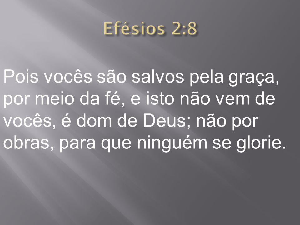 Pois vocês são salvos pela graça, por meio da fé, e isto não vem de vocês, é dom de Deus; não por obras, para que ninguém se glorie.