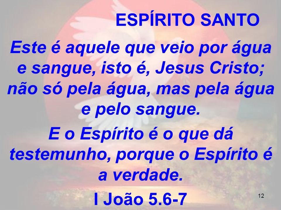 12 ESPÍRITO SANTO Este é aquele que veio por água e sangue, isto é, Jesus Cristo; não só pela água, mas pela água e pelo sangue. E o Espírito é o que