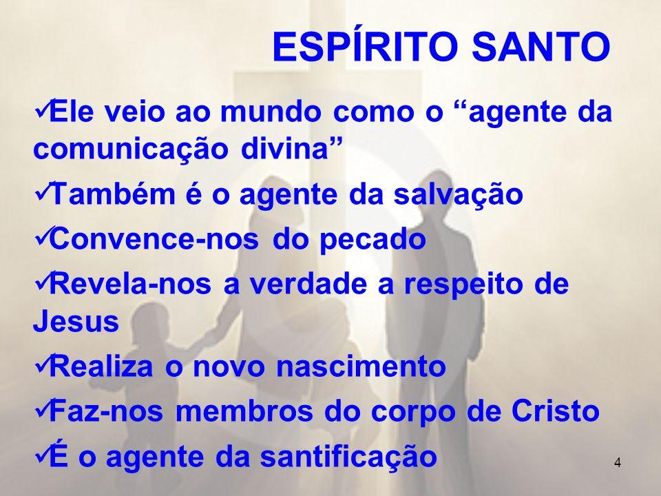 4 ESPÍRITO SANTO Ele veio ao mundo como o agente da comunicação divina Também é o agente da salvação Convence-nos do pecado Revela-nos a verdade a res