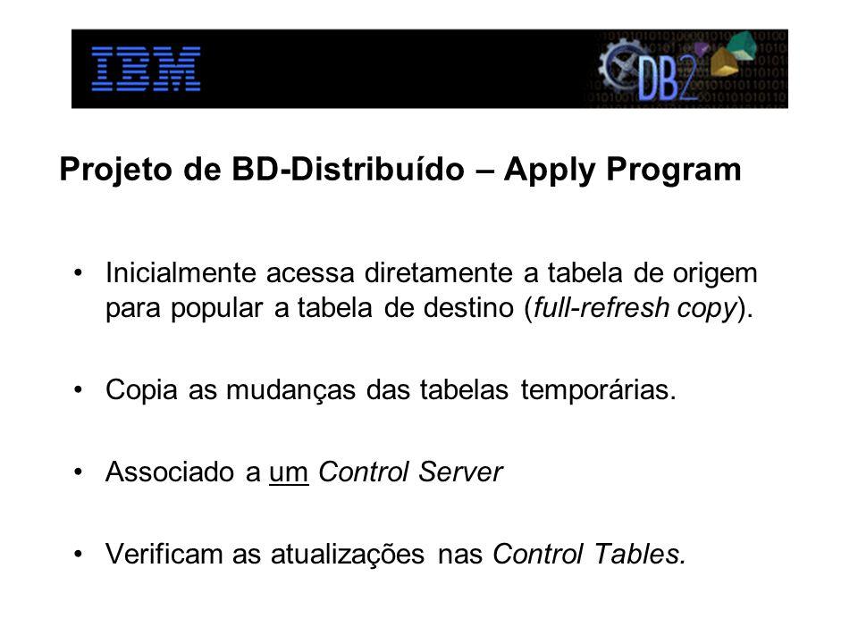 Projeto de BD-Distribuído – Apply Program Inicialmente acessa diretamente a tabela de origem para popular a tabela de destino (full-refresh copy). Cop