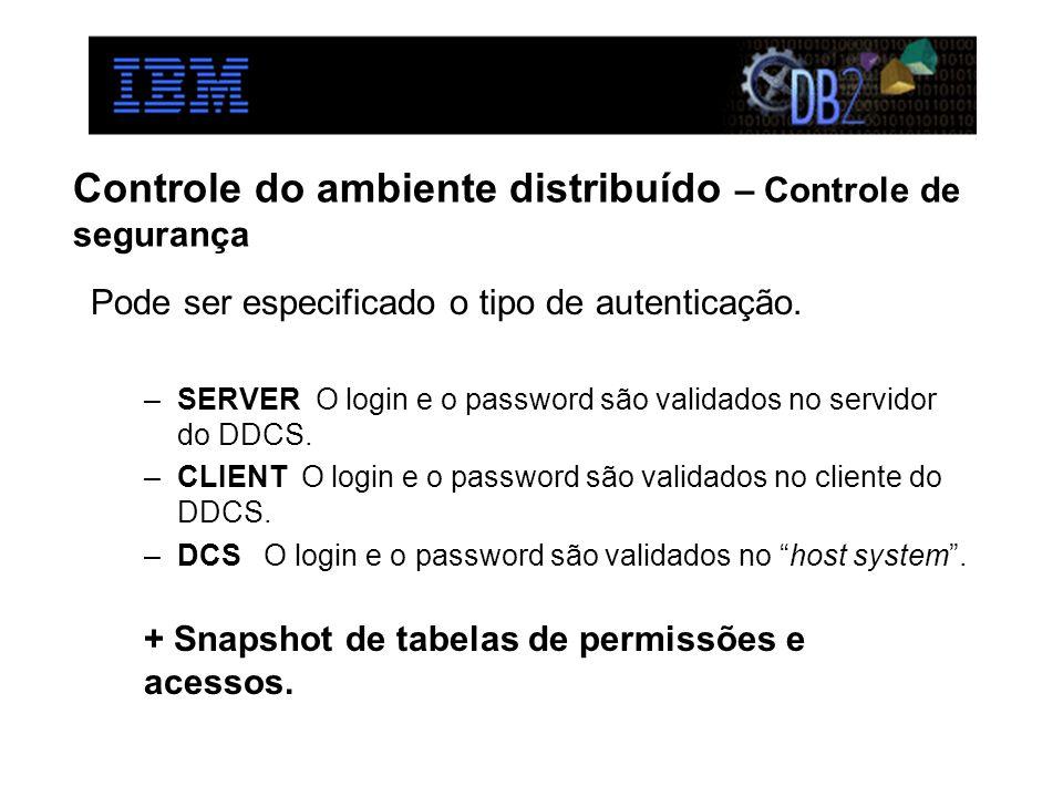 Controle do ambiente distribuído – Controle de segurança Pode ser especificado o tipo de autenticação. –SERVER O login e o password são validados no s