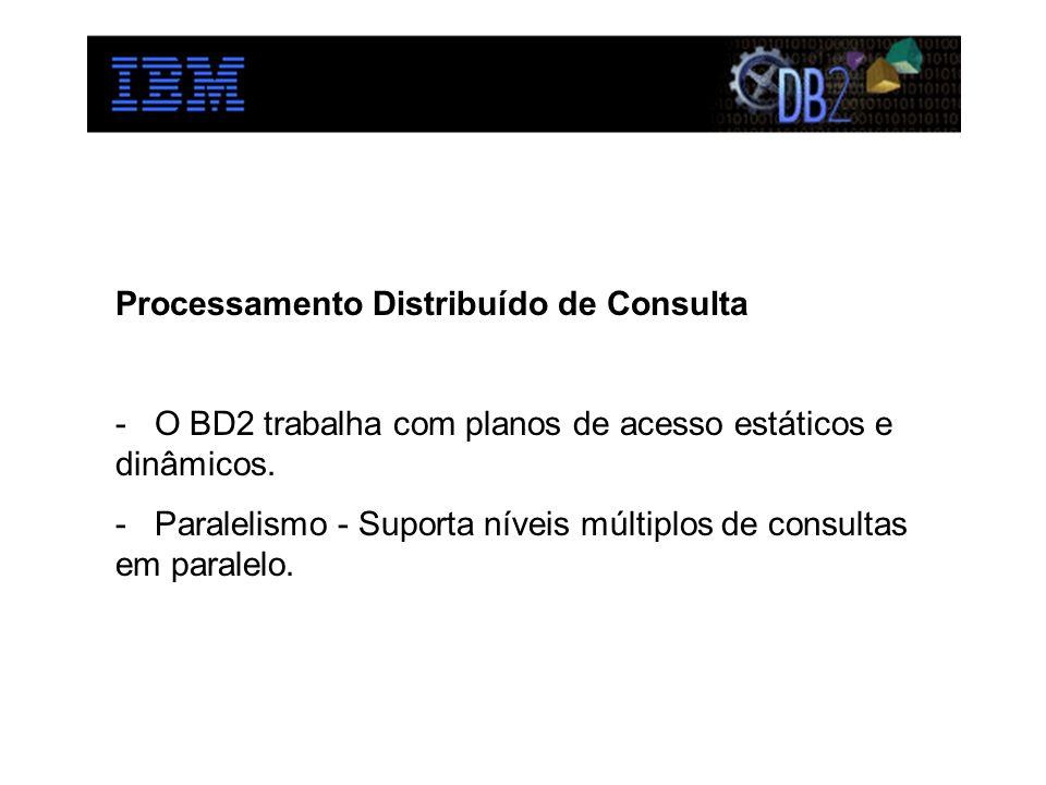 Processamento Distribuído de Consulta - O BD2 trabalha com planos de acesso estáticos e dinâmicos. - Paralelismo - Suporta níveis múltiplos de consult