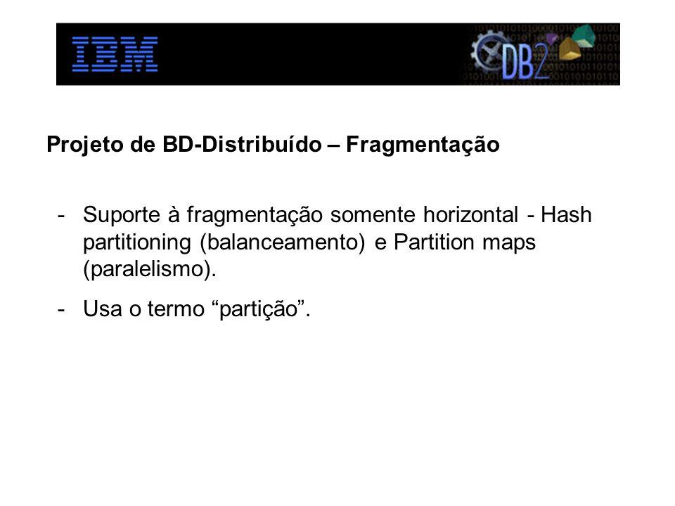 Projeto de BD-Distribuído – Fragmentação -Suporte à fragmentação somente horizontal - Hash partitioning (balanceamento) e Partition maps (paralelismo).