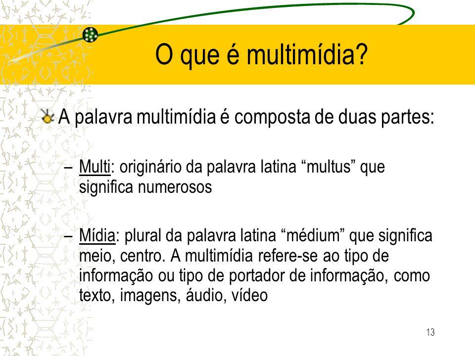 O que é multimídia? A palavra multimídia é composta de duas partes: –Multi: originário da palavra latina multus que significa numerosos –Mídia: plural