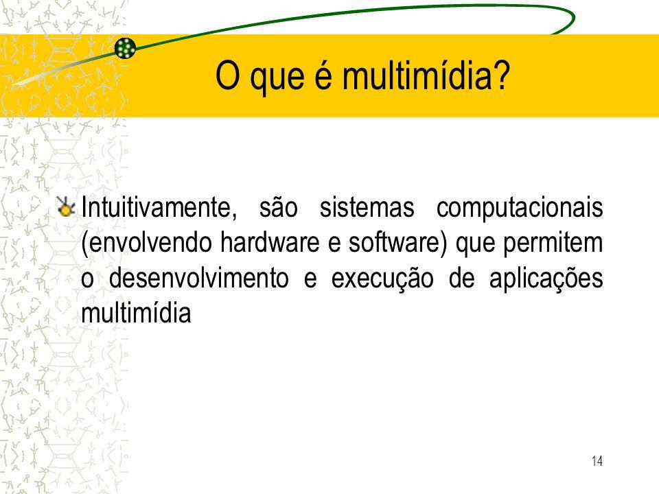 O que é multimídia? Intuitivamente, são sistemas computacionais (envolvendo hardware e software) que permitem o desenvolvimento e execução de aplicaçõ