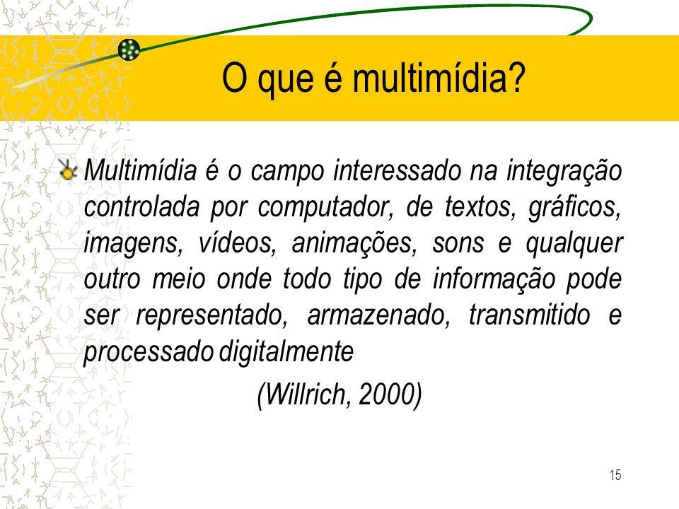 O que é multimídia? Multimídia é o campo interessado na integração controlada por computador, de textos, gráficos, imagens, vídeos, animações, sons e