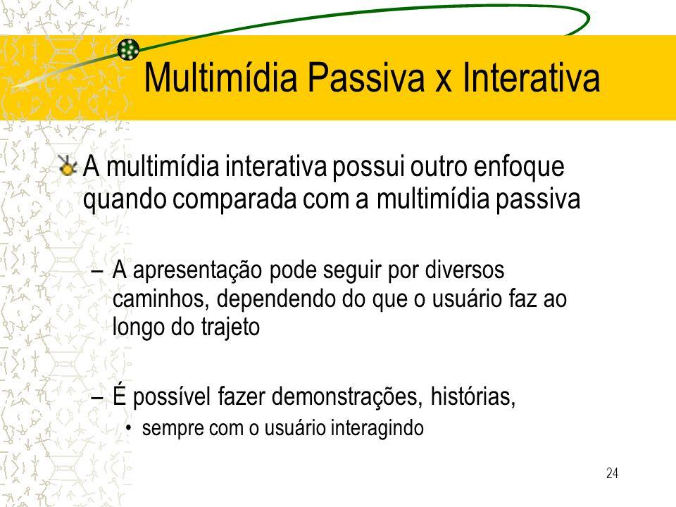 Multimídia Passiva x Interativa A multimídia interativa possui outro enfoque quando comparada com a multimídia passiva –A apresentação pode seguir por
