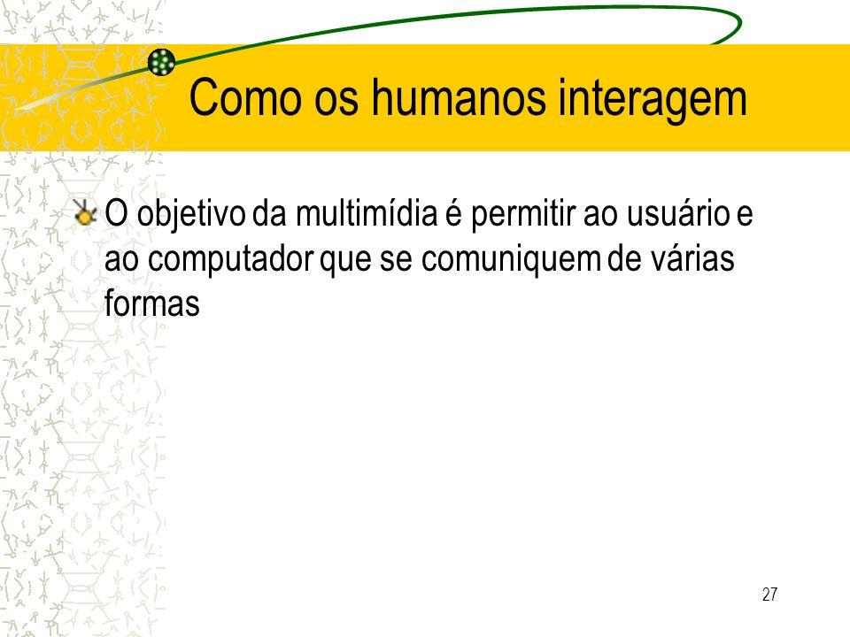 Como os humanos interagem O objetivo da multimídia é permitir ao usuário e ao computador que se comuniquem de várias formas 27