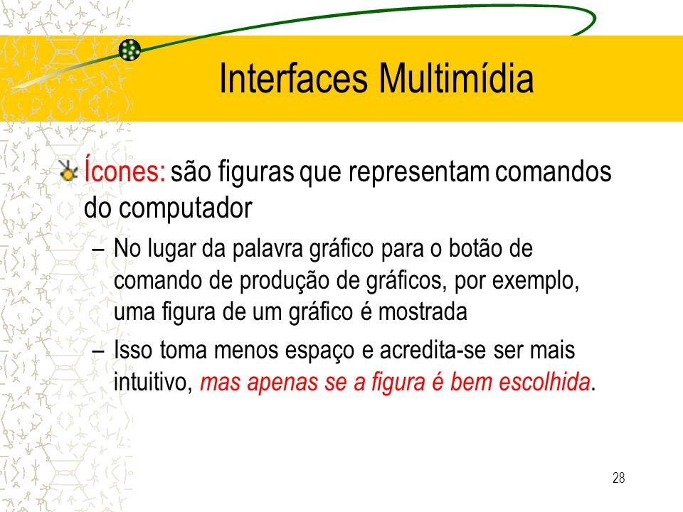 Interfaces Multimídia Ícones: são figuras que representam comandos do computador –No lugar da palavra gráfico para o botão de comando de produção de g