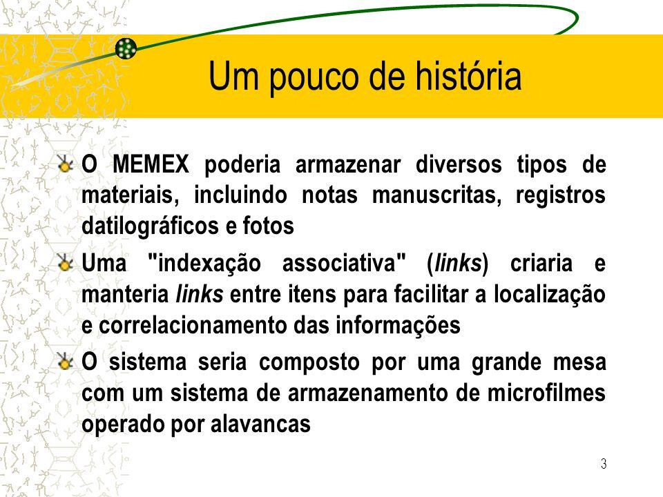 Um pouco de história O MEMEX poderia armazenar diversos tipos de materiais, incluindo notas manuscritas, registros datilográficos e fotos Uma