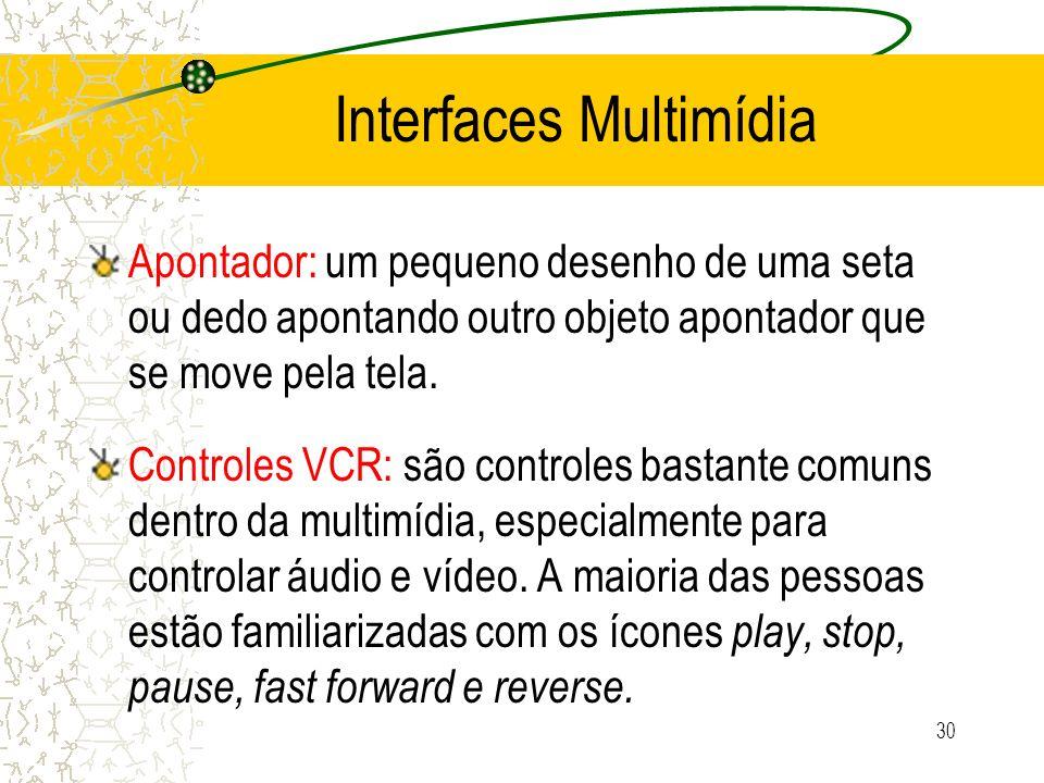 Interfaces Multimídia Apontador: um pequeno desenho de uma seta ou dedo apontando outro objeto apontador que se move pela tela. Controles VCR: são con