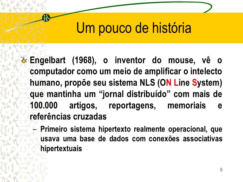 Um pouco de história Engelbart (1968), o inventor do mouse, vê o computador como um meio de amplificar o intelecto humano, propõe seu sistema NLS (ON