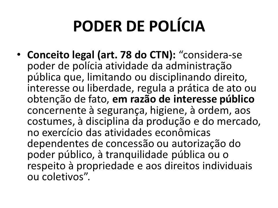 PODER DE POLÍCIA Conceito legal (art. 78 do CTN): considera-se poder de polícia atividade da administração pública que, limitando ou disciplinando dir