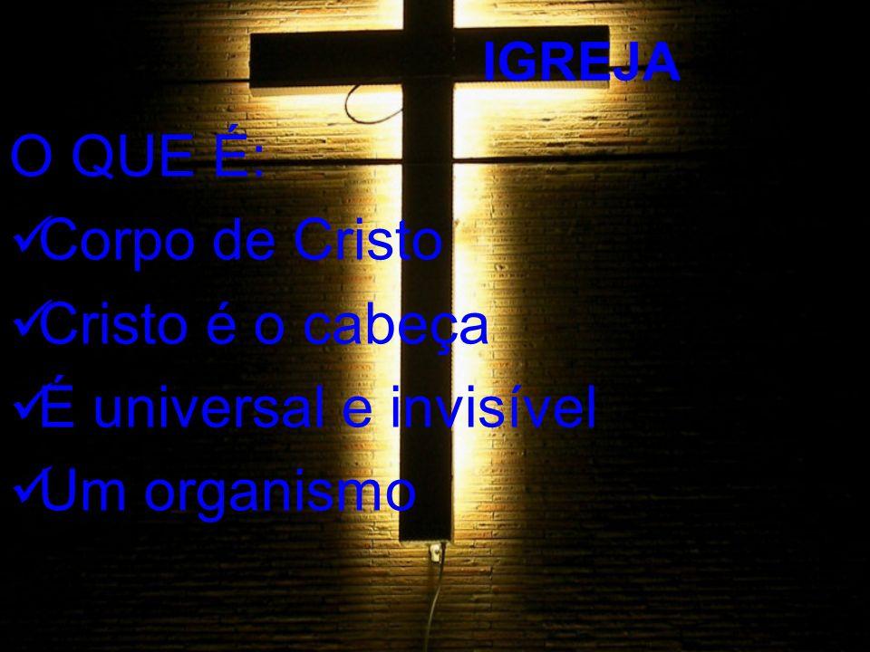 4 IGREJA O QUE É: Corpo de Cristo Cristo é o cabeça É universal e invisível Um organismo