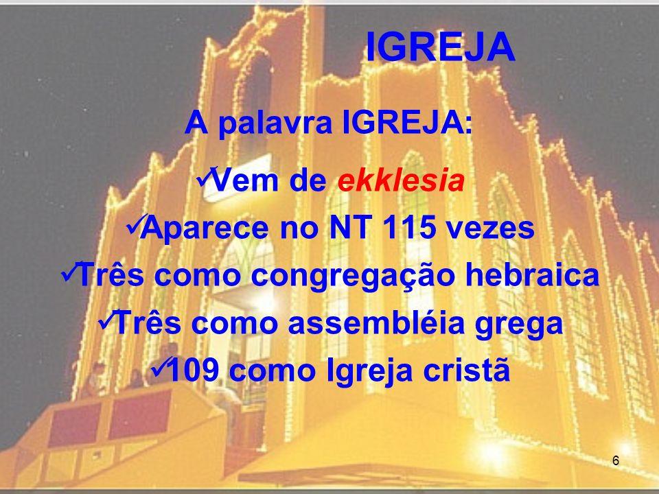 6 IGREJA A palavra IGREJA: Vem de ekklesia Aparece no NT 115 vezes Três como congregação hebraica Três como assembléia grega 109 como Igreja cristã
