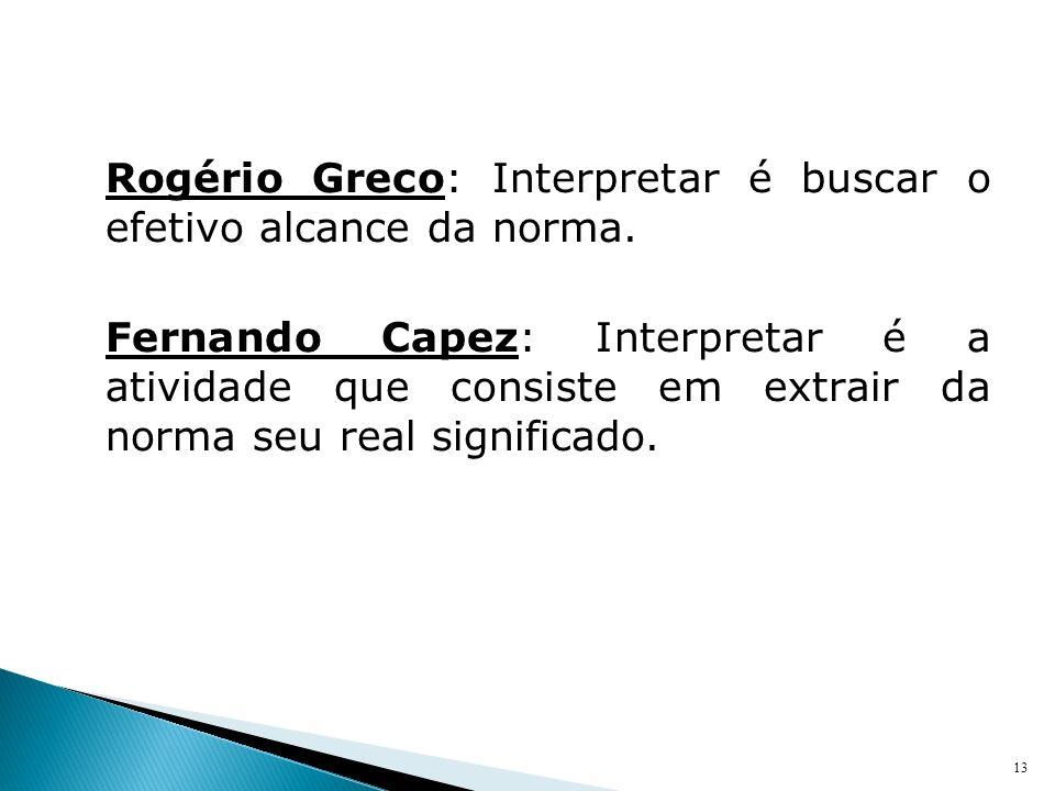 Rogério Greco: Interpretar é buscar o efetivo alcance da norma. Fernando Capez: Interpretar é a atividade que consiste em extrair da norma seu real si