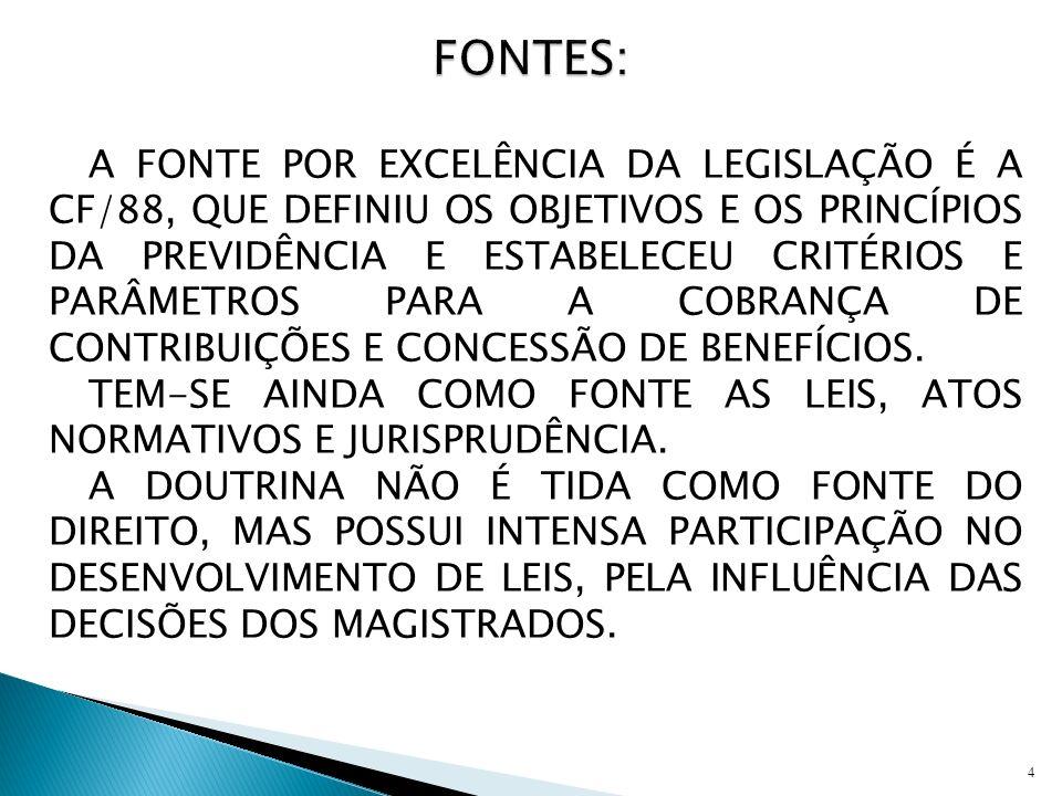 A FONTE POR EXCELÊNCIA DA LEGISLAÇÃO É A CF/88, QUE DEFINIU OS OBJETIVOS E OS PRINCÍPIOS DA PREVIDÊNCIA E ESTABELECEU CRITÉRIOS E PARÂMETROS PARA A CO