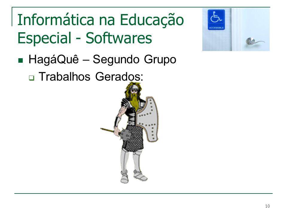 10 Informática na Educação Especial - Softwares HagáQuê – Segundo Grupo Trabalhos Gerados:
