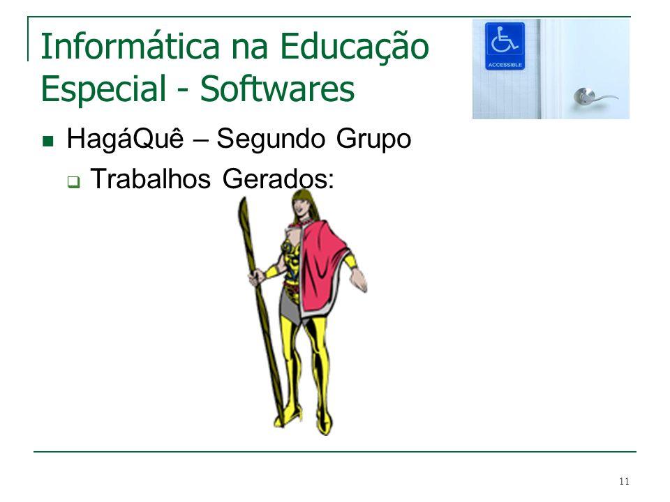 11 Informática na Educação Especial - Softwares HagáQuê – Segundo Grupo Trabalhos Gerados: