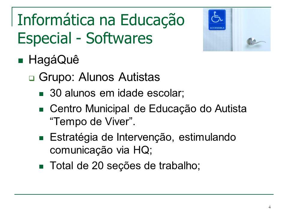 4 Informática na Educação Especial - Softwares HagáQuê Grupo: Alunos Autistas 30 alunos em idade escolar; Centro Municipal de Educação do Autista Temp