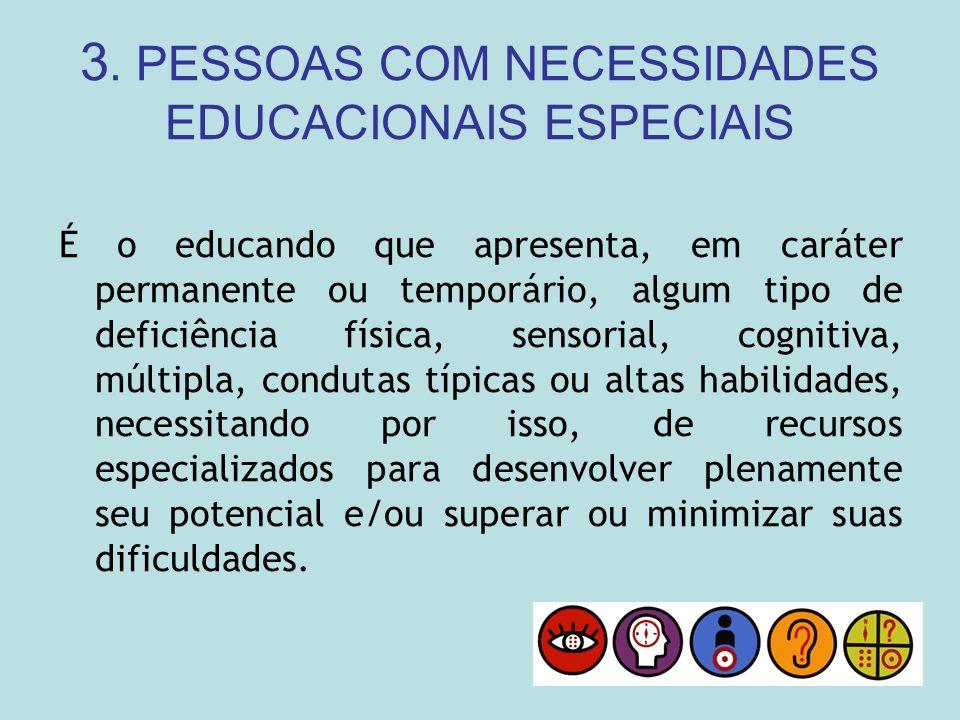 3. PESSOAS COM NECESSIDADES EDUCACIONAIS ESPECIAIS É o educando que apresenta, em caráter permanente ou temporário, algum tipo de deficiência física,