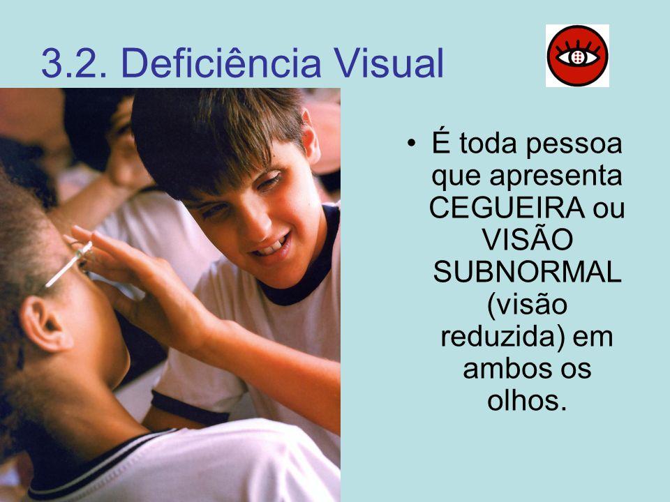 3.2. Deficiência Visual É toda pessoa que apresenta CEGUEIRA ou VISÃO SUBNORMAL (visão reduzida) em ambos os olhos.
