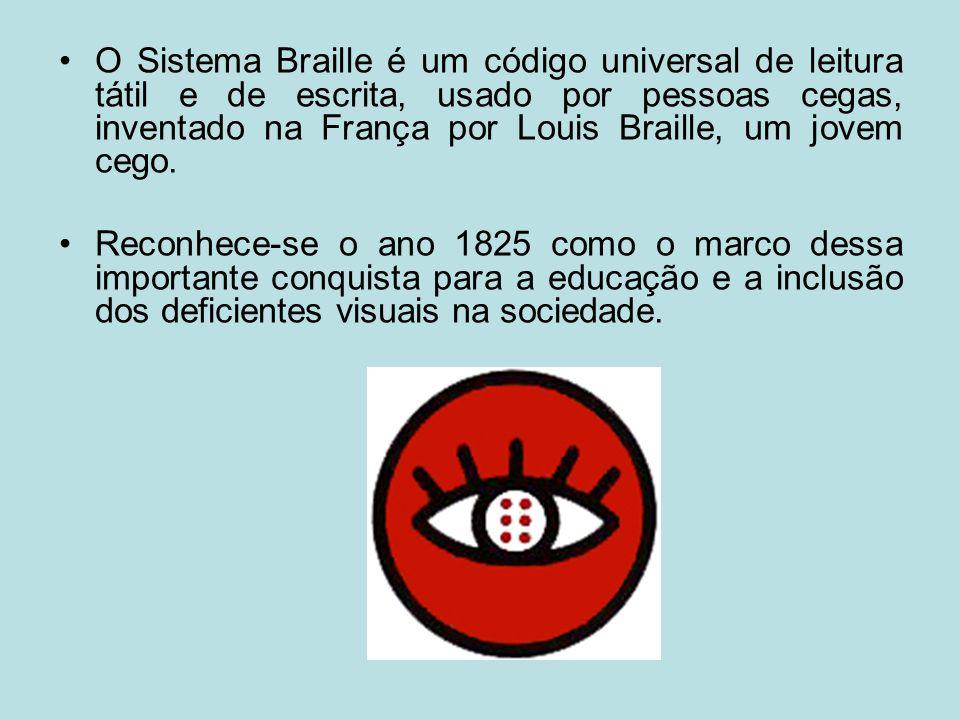 O Sistema Braille é um código universal de leitura tátil e de escrita, usado por pessoas cegas, inventado na França por Louis Braille, um jovem cego.