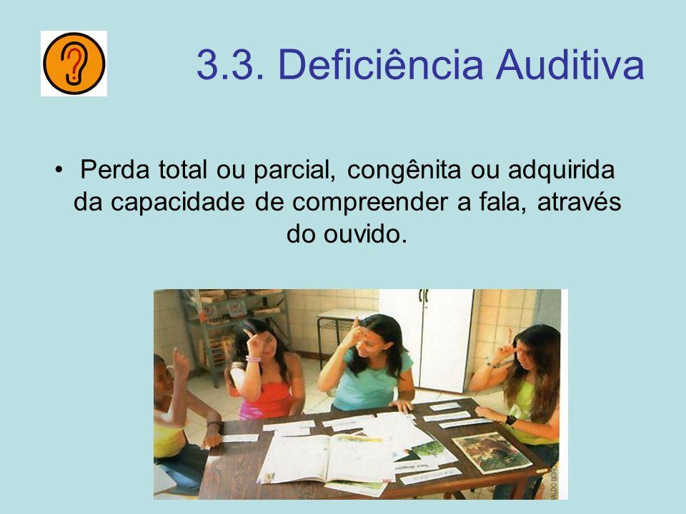 3.3. Deficiência Auditiva Perda total ou parcial, congênita ou adquirida da capacidade de compreender a fala, através do ouvido.