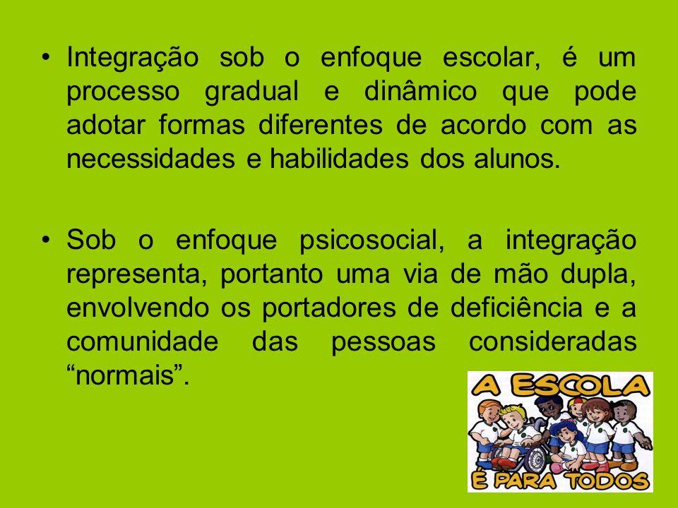 Integração sob o enfoque escolar, é um processo gradual e dinâmico que pode adotar formas diferentes de acordo com as necessidades e habilidades dos a