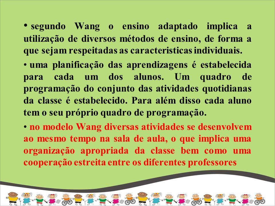 segundo Wang o ensino adaptado implica a utilização de diversos métodos de ensino, de forma a que sejam respeitadas as caracteristicas individuais. um