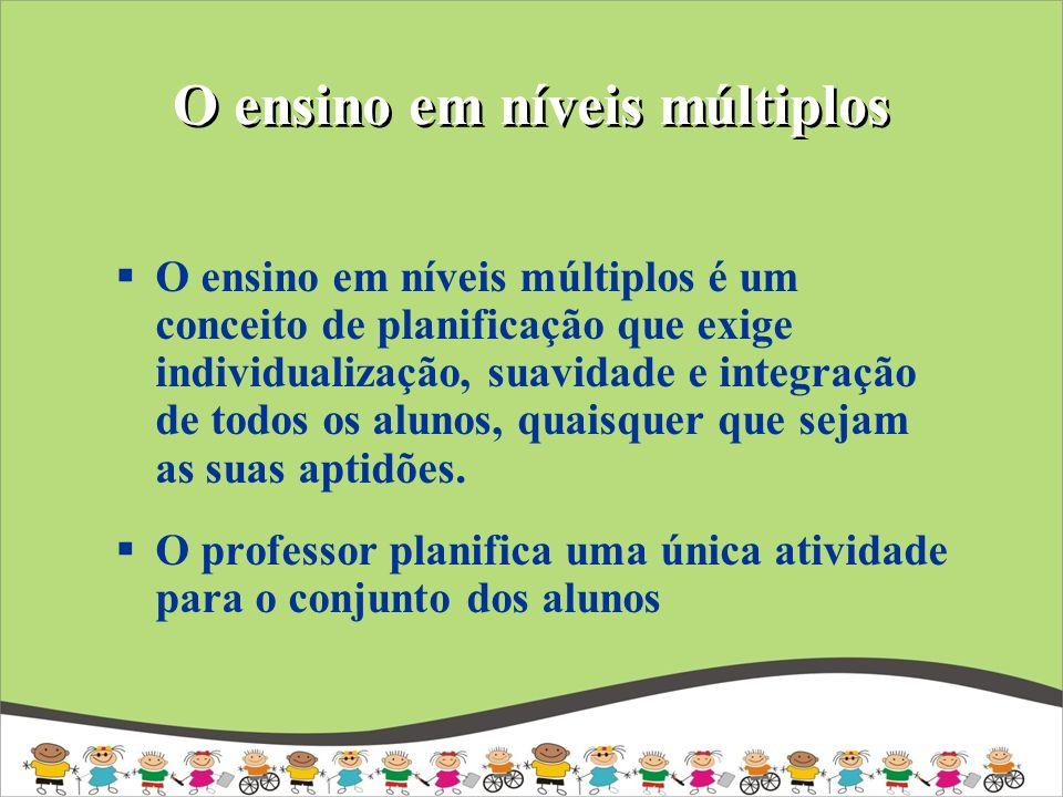 O ensino em níveis múltiplos O ensino em níveis múltiplos é um conceito de planificação que exige individualização, suavidade e integração de todos os