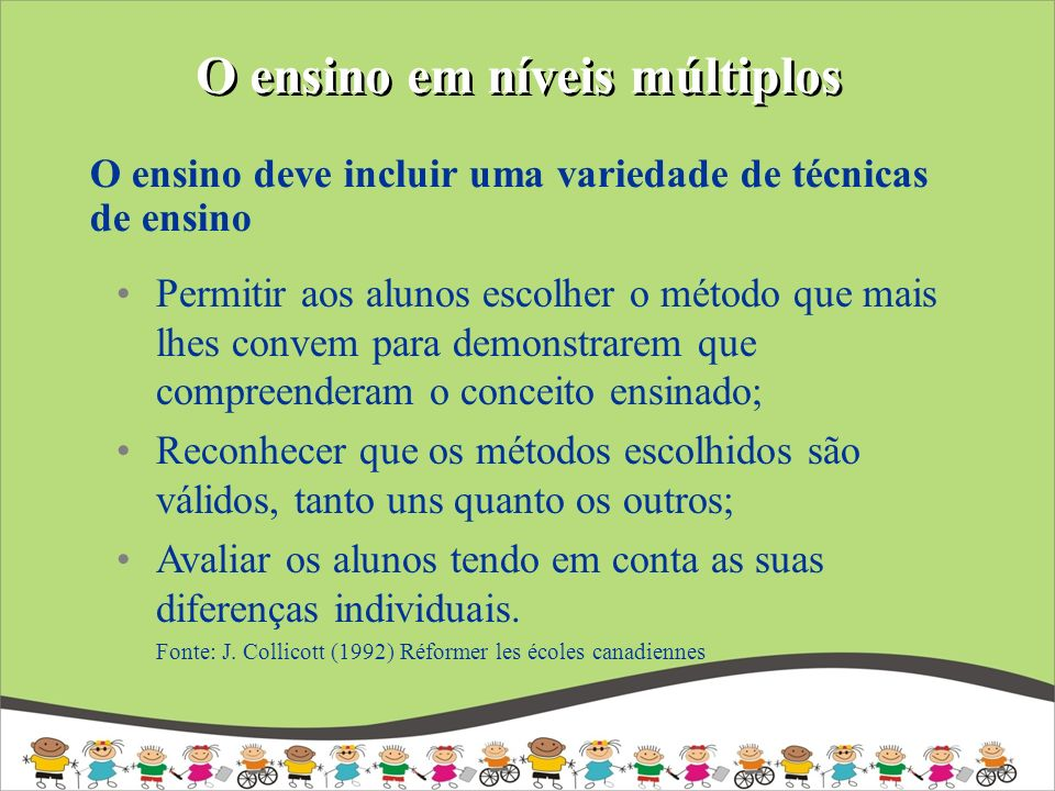 O ensino em níveis múltiplos Permitir aos alunos escolher o método que mais lhes convem para demonstrarem que compreenderam o conceito ensinado; Recon