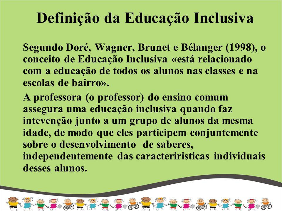 Segundo Doré, Wagner, Brunet e Bélanger (1998), o conceito de Educação Inclusiva «está relacionado com a educação de todos os alunos nas classes e na