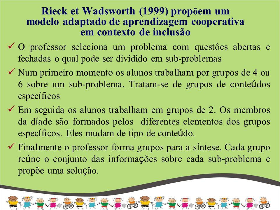 Rieck et Wadsworth (1999) prop õ em um modelo adaptado de aprendizagem cooperativa em contexto de inclusão O professor seleciona um problema com quest