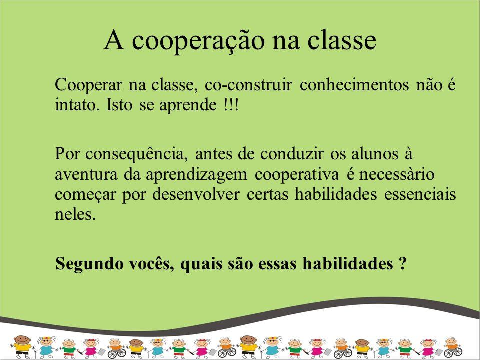 A cooperação na classe Cooperar na classe, co-construir conhecimentos não é intato. Isto se aprende !!! Por consequência, antes de conduzir os alunos