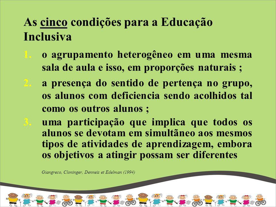 cinco As cinco condições para a Educação Inclusiva 1.o agrupamento heterogêneo em uma mesma sala de aula e isso, em proporções naturais ; 2.a presença