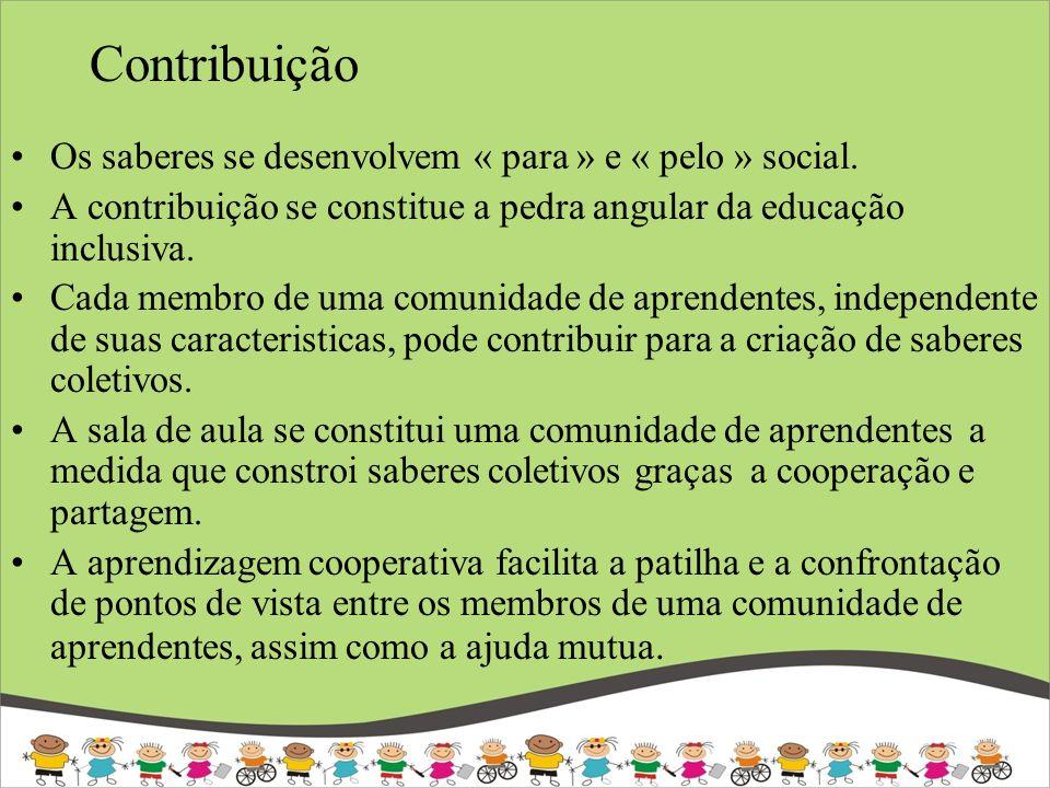 Contribuição Os saberes se desenvolvem « para » e « pelo » social. A contribuição se constitue a pedra angular da educação inclusiva. Cada membro de u