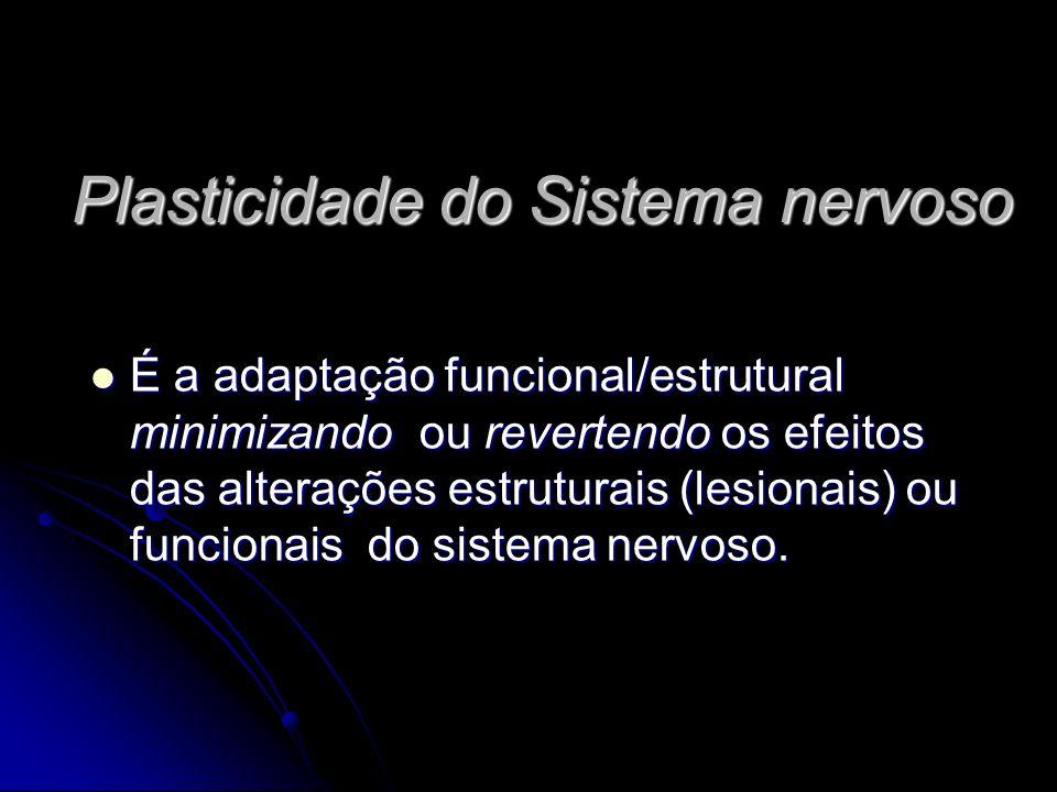 Plasticidade do Sistema nervoso É a adaptação funcional/estrutural minimizando ou revertendo os efeitos das alterações estruturais (lesionais) ou funcionais do sistema nervoso.
